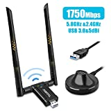Adaptador WiFi de Largo Alcance USB 17500Mbps, Dongle inalámbrica Banda Dual(5GHz/1300 Mbps+ 2,4GHz/ 450 Mbps), 2 Antenas WiFi de 5dBi, USB 3.0, para PC Soporta Windows 10/8/7/XP, Mac OS 10.6-10.13