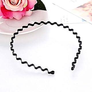 3 Pcs Unisex Black Spring Wavy Metal Hair Hoop Band,Headband Headware Accessories Sports Headband for Men Women