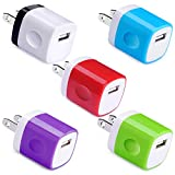 Wall Charger, UorMe 1Amp 5V One Port Power Adapter 5 Pack USB Plug Cube Block Box Compatible iPhone 12 11 Xs XR X 8 7 6S 6 Plus 5, Samsung S21 S20 S9 S8 Note 20/9/8 S7 Edge, LG G7, Google, BlackBerry