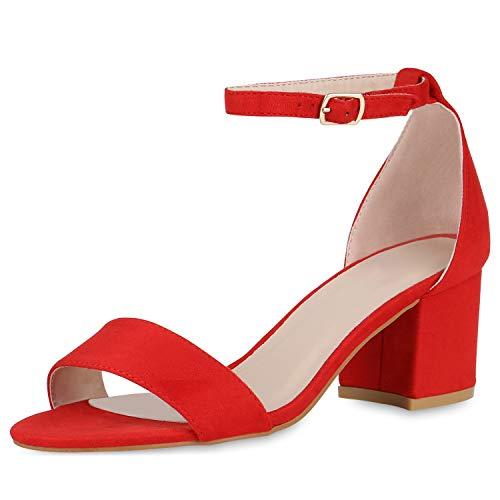 SCARPE VITA Klassische Damen Sandaletten Basic Wildleder-Optik Sommer Schuhe Blockabsatz Riemchensandaletten Absatzschuhe 176300 Rot Red Total 38