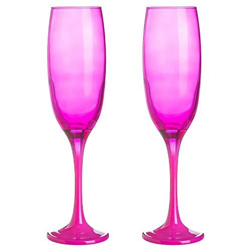 Argon Tableware 2 Stück Farbige Champagne Flöten Set - Hen Do Partei Prosecco Toasten Gläser - 220ml - Pink