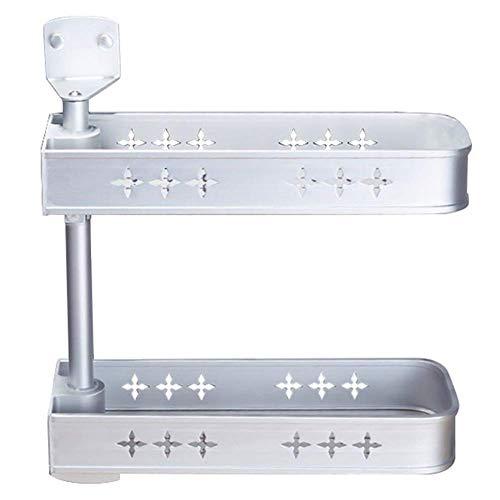 WJSW Duschregal Badregal Wand-Ecklocher Frei drehbarer Raum Aluminium Silber, 2 Montagemethoden (Farbe: Schicht 2)