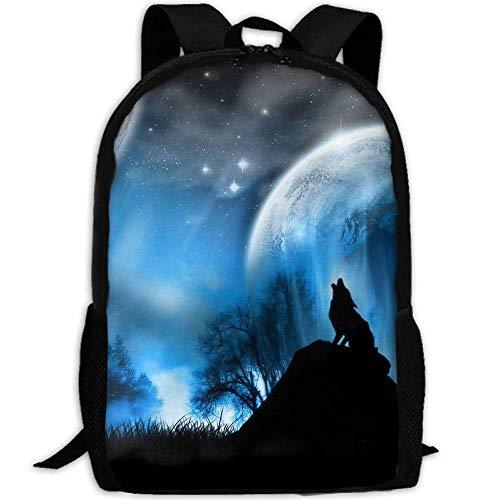 best& Vintage Midnight Wolf Howl College Laptop Backpack Student School Bookbag Rucksack Travel Daypack