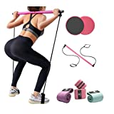 Pilates Bar and Exercise Resistance Band Set with Core Slider Gliding Disks – Portable Home Gym Equipment for Women – Tighten and Tone Abs, Build Strength and Muscles with Low-Impact Workouts
