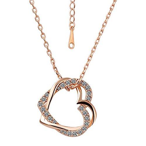 COM-FOUR® Elegante ketting met met elkaar verweven harten (Dubbel hart)