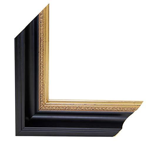 OLIMP-07 Bilderrahmen 33x95 cm Echtholz Barock in Farbe Schwarz Gold