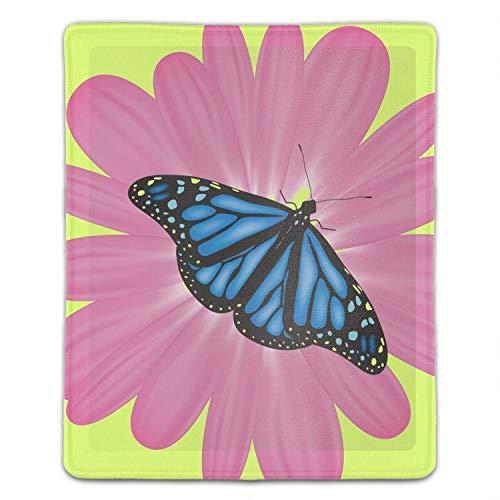 Blue Butterfly und Pink Flower Mouse Pad Büroraum Dekor Home Office Computerzubehör Mousepads Aquarell Vintage Design