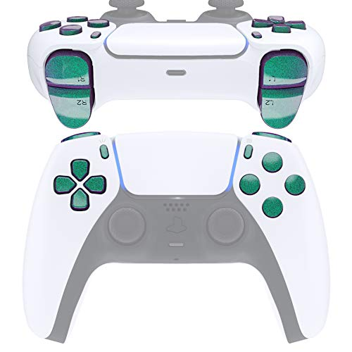 eXtremeRate Replacement D-pad R1 L1 R2 L2 Triggers Share Options Face Buttons for DualSense 5 PS5 Controller, Chameleon Green Purple Full Set Buttons Repair Kits with Tool for PlayStation 5 Controller