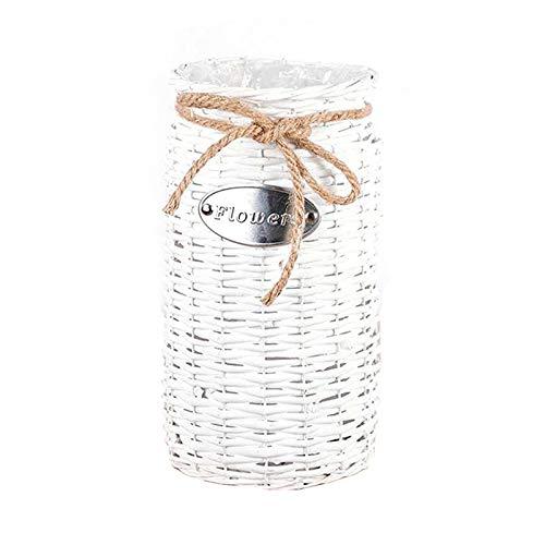 INFILM Jarrón de mimbre de flores secas, cesta de flores tejida a mano pura de mimbre de secado para el hogar, cocina, sala de estar, dormitorio, decoración