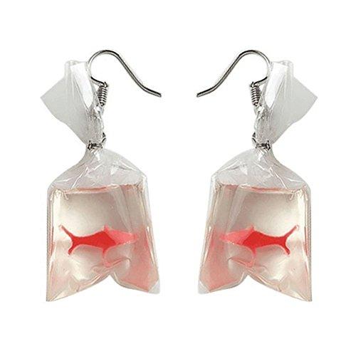 Afco Lovely Diary Funny Goldfish Water Bag Dangle Hook Earrings Girl Charm #1