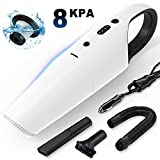 Car Vacuum, GALSOAR 8000PA Corded Small Vacuum Cleaner, High Power, Wet Dry Use, Portable Handheld Auto Vacuum Cleaner with 14.8FT Power Cord, HEPA Filter, White