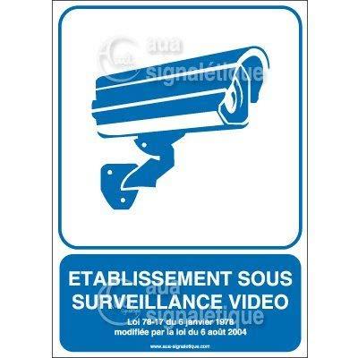 AUA SIGNALETIQUE - Autocollant Etablissement sous Surveillance Vidéo02 - v - 75x105 mm, Vinyl adhésif
