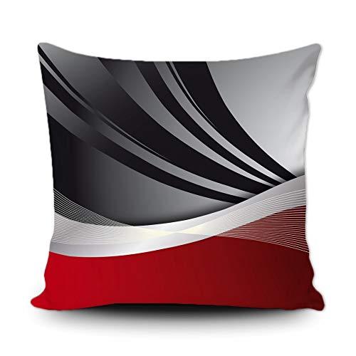 BAGEYOU Housse de coussin moderne abstrait à rayures rouges grises, noires, blanches, acryliques, grises, décoratives, taie d'oreiller carrée 40,6 x 40,6 cm pour canapé, voiture
