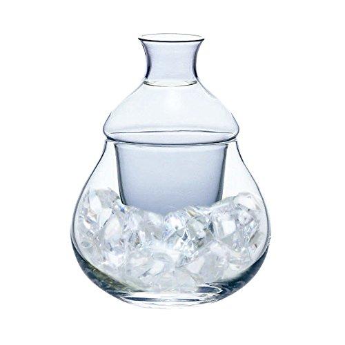 東洋佐々木ガラス冷酒器ブルー11×11×14.5cm、口径:3.8cm