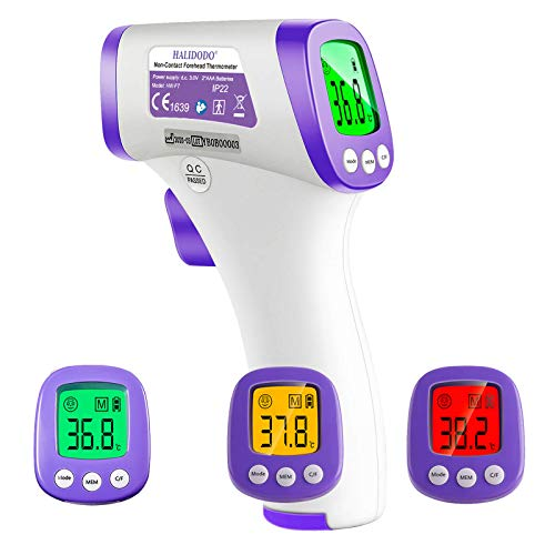 HALIDODO Termometro a infrarossi da fronte, digitale, a distanza, con temperatura in °F e /°C, display LCD, allarme febbre e funzione di memoria