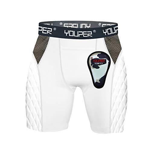 Youper Youth Elite Padded Baseball Sliding Shorts w/Soft Cup (Medium) White