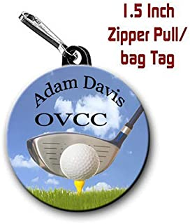 Golf zipper pull (two) 1.5 inch bag tag charms personalized with name and city/state or club name