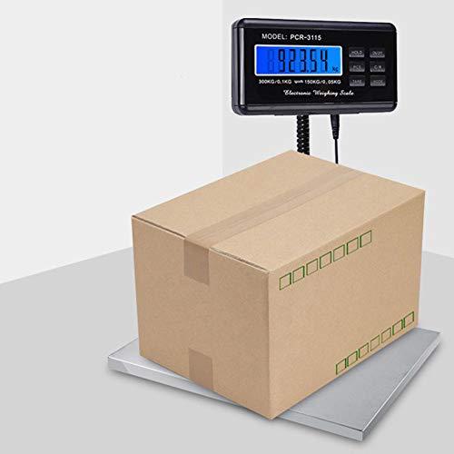 Báscula postal, balance de estación inteligente con gran plataforma de acero inoxidable cordón extensible pantalla LCD retroiluminación para Peser letras paquetería. Capacidad MAX 300kg
