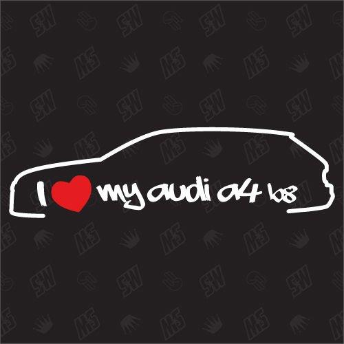 speedwerk-motorwear I Love My A4 B8 Avant - Sticker Bj.07-13, kompatibel mit Audi