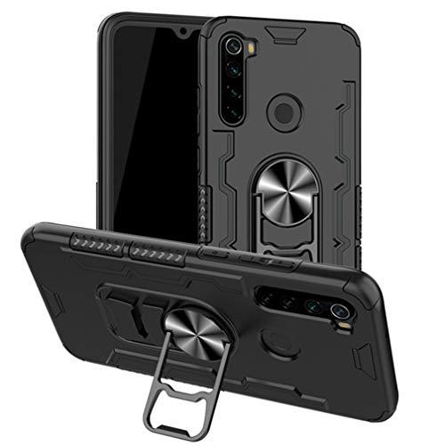 HAOYE Cover per Xiaomi Redmi Note 8T, Silicone Cover con 360 Gradi Girevole Anello, Armor Custodia con Supporto Magnetico Auto, Silicone TPU e PC Doppio Strato Protettiva Bumper. Nero