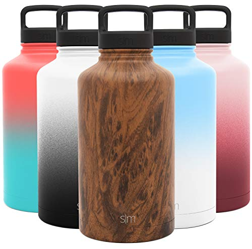 Simple Modern 64 Ounce Summit Water Bottle - Large Stainless Steel Half Gallon Flask +2 Lids - Wide Mouth Double Wall Vacuum Insulated Multi Leakproof Pattern: Wood Grain