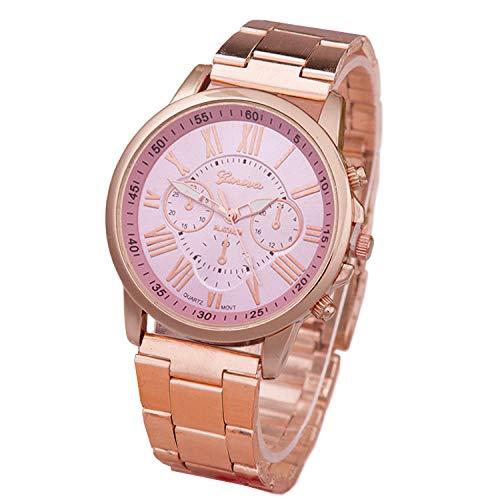 QWRjj Reloj de Pulsera Mujeres Famosas Reloj de Cuarzo de Acero Inoxidable de Oro Rosa Relojes Deportivos al Aire Libre-Rosa