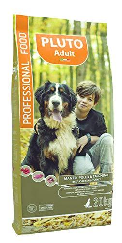 Pluto Dog Basic Crocchette Cani 20 Kg Offerte Cibo Per Cani Adulti Completo E Bilanciato, Snack Per Cani, Carne Secca Disidratata, Crocchette Per Cani