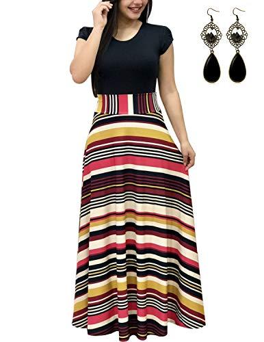 UUAISSO Sommerkleid Damen Lang mit Blüte Drucken Lang High Waist Elastische Strandkleider Maxikleider H-Streifen-Kurzarm M