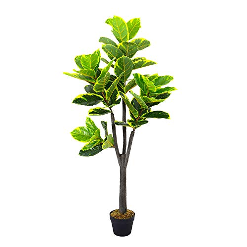 The Fellie Artificial Tree Outdoors Artificial Large Rubber Ficus Plant 150cm 5ft High in Black Pot for Indoor Outdoor Garden