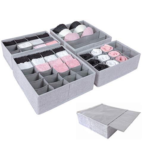 SIMPLE JOY Schubladen Organizer für I K E A Pax; Stabiler Boden; Stoffboxen 4er Set für Socken, BH, Unterwäsche; Aufbewahrungsboxen, Ordnungssystem, grau