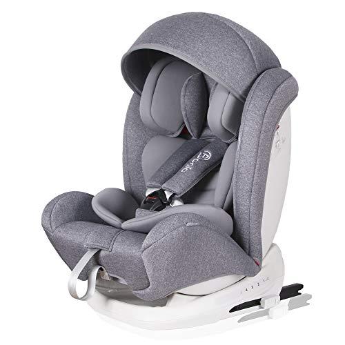 Bonio Kindersitz 9-36 kg Verstellbare Kopfstütze, Kinderautositz Gruppe 1 2 3, mit ISOFIX, 4 Sitzund Schlafpositionen, Autositz ab 9 Monate bis 12 Jahre (Grau-1)