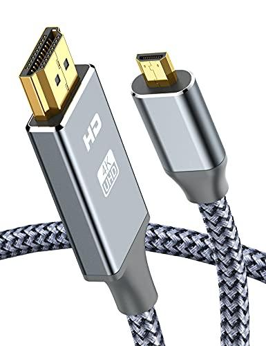 Cavo Micro HDMI a HDMI 1.8M - Snowkids 4K Micro HDMI 2.0 Guscio in Alluminio Guscio in Nylon Intrecciato (4K@60Hz 2K@120Hz 3D) Compatibile con Gopro Hero/Camera,per standard HDMI2.0a,1.4a
