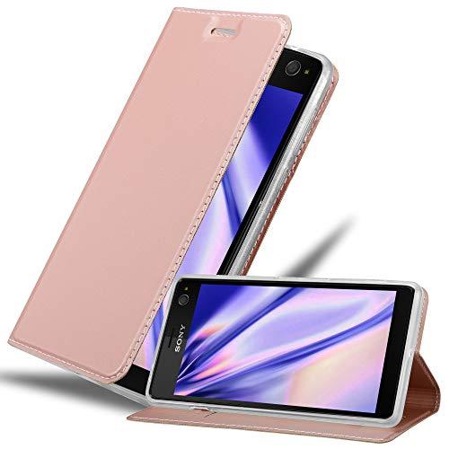 Cadorabo Hülle für Sony Xperia C4 - Hülle in ROSÉ Gold – Handyhülle mit Standfunktion & Kartenfach im Metallic Erscheinungsbild - Hülle Cover Schutzhülle Etui Tasche Book Klapp Style