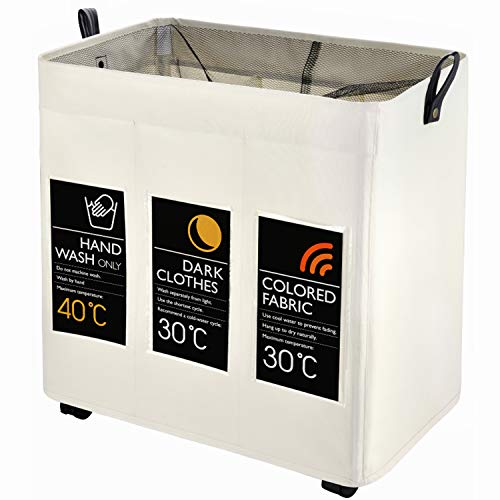 Laundry Sorter, Caroeas Laundry Hamper 3-Bag with Card Pocket & Leather Handle Waterproof Laundry...