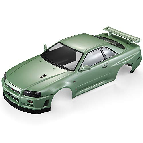 Goolsky Killerbody 48646 Nissan Skyline (R34) Finished Body Shell Frame for 1/10 Electric Touring RC Racing Car DIY (Green)