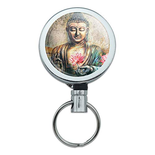Buddha Pink Lotus Flowers Serenity Heavy Duty Metal Retractable Reel ID Badge Key Card Tag Holder with Belt Clip