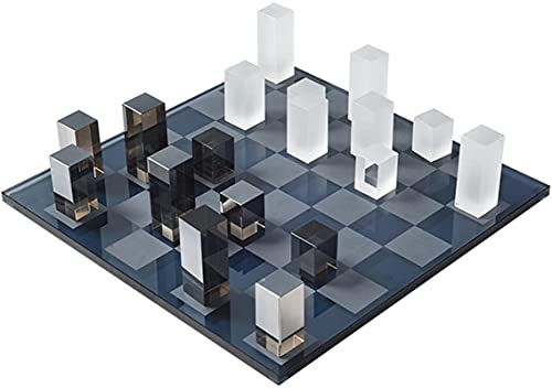 Juego de ajedrez portátil Cristal tablero de ajedrez decoración de escritorio creativo estilo moderno ajedrez chalet mesa mesa mesa de negociación decoración de mesa Ajedrez de madera con juego de mes