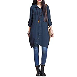 This long tunic shirt is exactly an attractive stunner. Its loose fit, irregular hem, chest pocket, front buttons up closure, turn-down collar and long sleeves will bring you comfort and brief style. roll up shirt can be lay down as full length sleev...