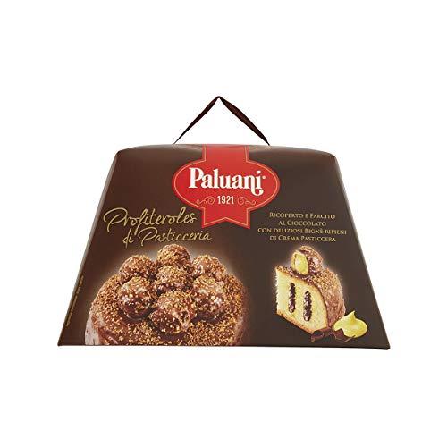 PALUANI Panettone Profiteroles Ricoperto e Farcito con finissimo cioccolato fondente, bignè ripieni di crema pasticciera, ingredienti di qualità, dolci natale, confezione gourmet, 750 g