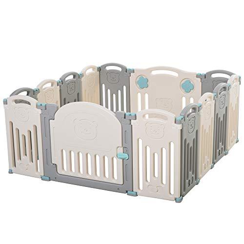 HOMCOM Baby Laufgitter, Absperrgitter,14 Elemente Schutzgitter mit Tür und Spiel für 6-36 Monate, HDPE, PP, Grau+Weiß, 141 x 133 x 58 cm