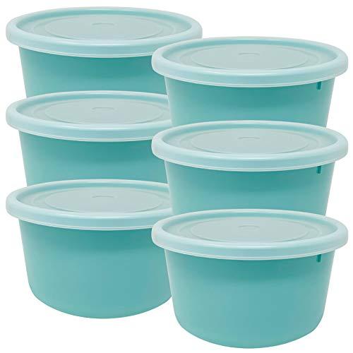 Codil Contenitori di plastica, contenitori ermetici, rotondi bassi, congelare, conservare e mantenere gli alimenti freschi, adatti per forno a microonde e lavastoviglie (verde, 16 × 9 cm)