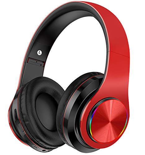 Wireless Headphones Over Ear, Ulecc Bluetooth Headphones with Deep Bass LED Flashing Amazing color Headsets Foldable Stereo Headphones, Wired and Wireless Headset for Smart Phone/TV/PC/Ipad (Red/Black