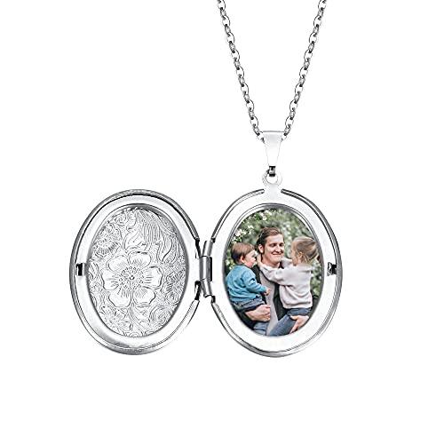Jovivi Collar de mujer con colgante que se puede abrir con portafotos y colgante de acero inoxidable con forma de corazón/redondo vintage, plateado, regalo para niñas y mujeres Oval