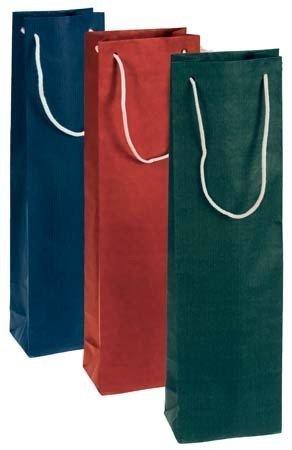 Tragetüte Flaschentasche Papier rot für eine Flasche; Maße: 95 x 65 x 380 mm; VE: 25 Stk.