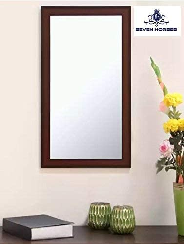 Seven Horses Frame Brown Sunmica Finish Fiber Wood Wall Mirror, Dressing Mirror Solid Premium Brown Water Resistant S...