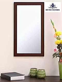 Seven Horses Frame Brown Sunmica Finish Fiber Wood Wall Mirror, Dressing Mirror Solid Premium Brown Water Resistant Synthetic Fiber Wood Made (14.5X26.5 Inch)