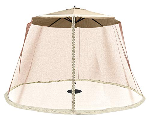 OUTDOOR WIND Outdoor 10FT Patio Umbrella Table Cover Mosquito Polyester Netting Screen,Beige