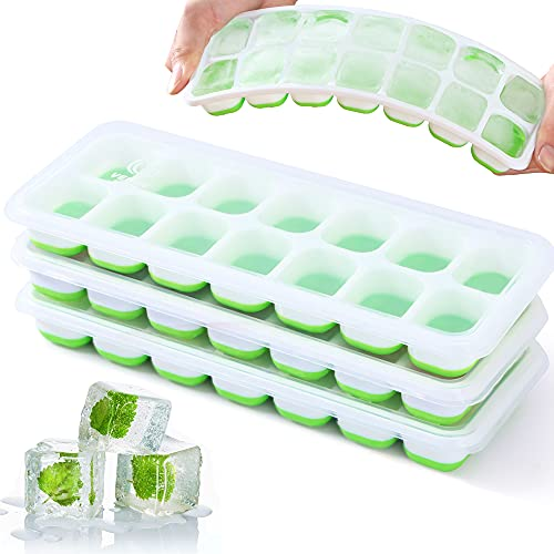 VEHHE Ice Cube Trays, 3 Pack Reusable Silicone 14-Ice Cube Tray with Spill-Resistant Removable Lid, Flexible and Odorless Ice Cube Moulds for Whiskey and Cocktails