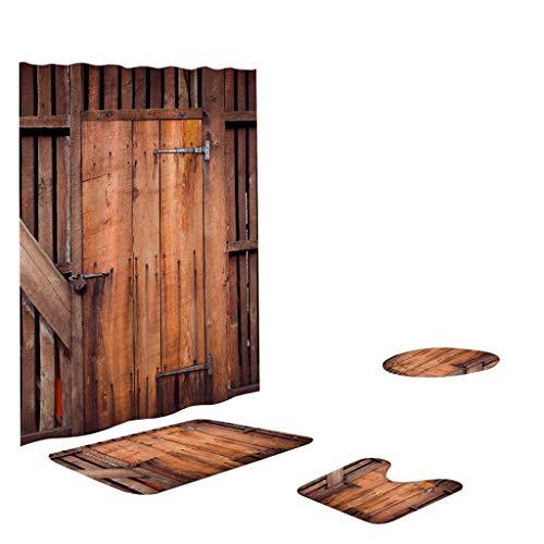 jieGorge - Juego de 4 alfombrillas antideslizantes de poliéster para baño, cortina de ducha, productos de baño, F.