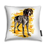 YILINGER Decorative Throw Pillow Cover Watercolor Close Up Portrait of Cute German Shorthaired Pointer Breed Dog Decor Pillow Case 20'x20'
